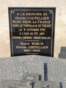 Plaque à la mémoire d'Henri Coutellier